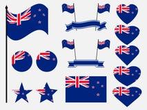 Nyazeeländsk flaggauppsättning Samling av symboler, flagga i hjärta vektor royaltyfri illustrationer