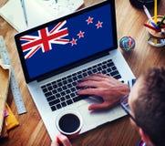 Nyazeeländskt begrepp för nationsflaggaaffärskommunikation arkivfoton