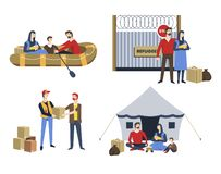 Nybebyggelse för politisk asyl för illegala invandrare för flyktingfamilj royaltyfri illustrationer