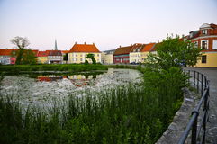Nyborg, Funen at Dusk. Historic Colorful Nyborg, on the Island of Funen, Denmark Royalty Free Stock Images