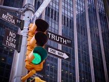 NYC华尔街黄色交通绿灯黑色尖指南O 库存图片