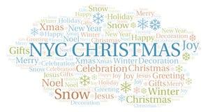 Nyc圣诞节词云彩 向量例证
