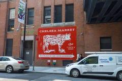 NYC地标切尔西市场牌在曼哈顿 库存照片