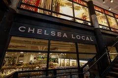 NYC地标切尔西市场牌在曼哈顿 免版税库存照片