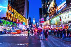 NYC的时代广场在晚上 免版税库存图片