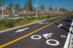 NYC自行车车道 免版税库存图片