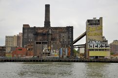 NYC,被放弃的多米诺制糖工厂 图库摄影