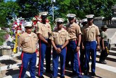 NYC:  Группа в составе морские пехотинцы США на церемониях Дня памяти погибших в войнах стоковое фото rf