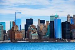 NYC从水的摩天大楼视图 库存图片