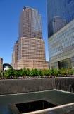 NYC :在9/11纪念品的北部塔脚印 免版税库存图片