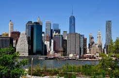 NYC :曼哈顿看法从布鲁克林Heights的 免版税库存照片