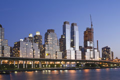 Nyc. Midtown Manhattan skyline At sunset Lights Stock Image