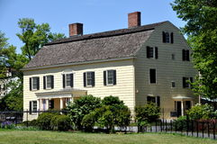 NYC: 1750 Rufus King Manor Museum. The historic 1750 Rufus King Manor House Museum built in the colonial American Georgian style with double chimneys and a stock image