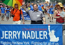 NYC:  2010 Gay Pride Parade. The distinguished United States Congressman from New York State Jerrold (Jerry) B.  Nadler marches behind his banner at the 2010 Gay Stock Photo