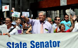 NYC: 2012 Gay Pride Parade. Openly gay New York State Senator Thomas Duane, who was in great part responsible for getting gay marriage legalised in New York Royalty Free Stock Images