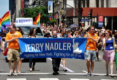 NYC: 2012 Gay Pride Parade. United States Congressman from New York City Jerrold B. Nadler marching in the 24 June 2012 Heritage of Pride gay parade on  NYC's Stock Photography