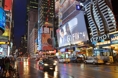地区曼哈顿晚上nyc剧院 免版税库存照片
