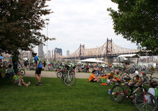 NYC 5 boro bike tour 2010 - Rest Stop. NYC 5 Boro Bike Tour - Rest Stop after the 59th street Bridge Stock Photo