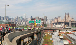 Nyc 5 boro bike tour 59th Street Bridge. NYC 5 Boro Bike Tour - Exiting the 59th Street Bridge Royalty Free Stock Photo