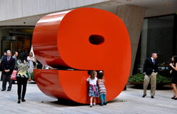 NYC: The #9 Sculpture at 9 West 57th Street Stock Photos