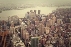 NYC from above. NYC view from above, vintage toned image Stock Photo