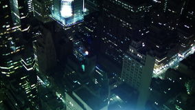 NYC Aerial View of Buildings at Night stock video footage