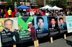 NYC: Affischtavlafoto av Taiwanes-amerikaner Arkivbild