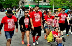 NYC: AIDS Walk 2014 Walkers. NYC: Some of the 30,000 people participating in the annual AIDS WALK NYC 2014 walkathon to raise money for AIDS charities and stock photography