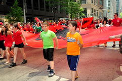 NYC: Albanian Children Marching in Parade Royalty Free Stock Photos