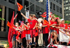 NYC: Albanian Children Riding on Parade Float Stock Photography