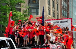 NYC: Albanians Riding Float in Immigration Parade Royalty Free Stock Photography
