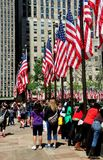 NYC: American Flags at Rockefeller Center Stock Image
