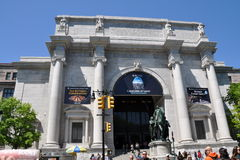 NYC: American Museum of Nat. History. The Central Park West entrance to the American Museum of Natural History with the renowned equestrian statue of President Royalty Free Stock Photos