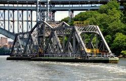 NYC:  AMTRAK Spuyten Duyvil linii kolejowej Huśtawkowy most Zdjęcie Royalty Free