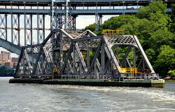 NYC: AMTRAK Spuyten Duyvil Railroad Swing Bridge. The AMTRAK railroad swing bridge at Spuyten Duyvil, the northern tip of Manhattan island, in open position to royalty free stock photo