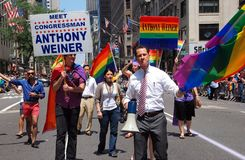 NYC: Anthony Weiner at Gay Pride Parade Royalty Free Stock Image