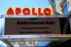 NYC: Apollo Theatre Marquee. Marquee of the legendary Apollo Theatre on West 125th Street in New York City's Harlem advertises its weekly Amateur Night Royalty Free Stock Images