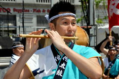 NYC:  Asian American Festival Musician. Musician from the Buddhist - Japanese group Soh Daiko in performance at the 32nd Asian American & Pacific Islander Stock Images