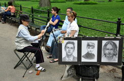 NYC: Asian Artist in Central Park Royalty Free Stock Images