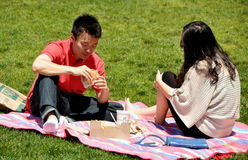 NYC: Asian Couple Having Picnic Stock Images