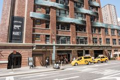 Exterior of Chelsea Market. NYC: August 27, 2016: Exterior of Chelsea Market in Manhattan, New York City. The Chelsea Market building is the location where the Royalty Free Stock Images