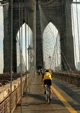 NYC: Bicyclist on the Brooklyn Bridge Stock Photos