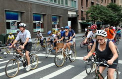 NYC: Bicyclists on Park Avenue Stock Images