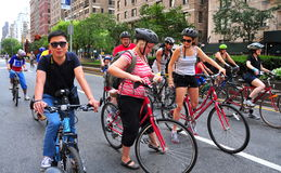 NYC: Bicyclists on Park Avenue Royalty Free Stock Images