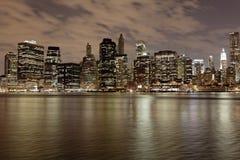 NYC bij Nacht Stock Afbeelding