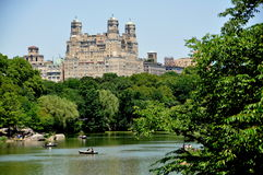 NYC: Boating Lake and Bethesda Apts. stock images