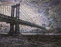 NYC Bridge. In Manhattan Painting Stock Image
