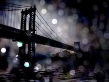 NYC Bridge. Bokeh. 3D rendering Stock Images