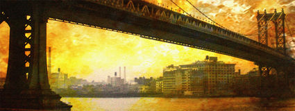 NYC Bridge Painting Stock Images