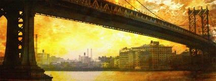 NYC Bridge Painting. New York CIty Bridge Painting Stock Images